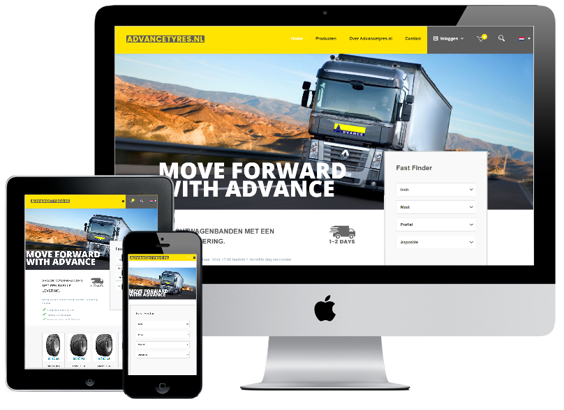 Responsive Webshop Advancetyres.nl inclusief iDEAL