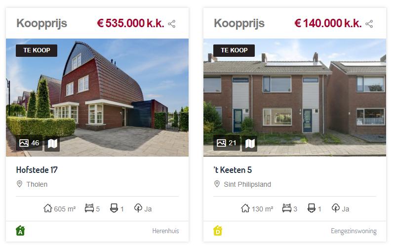 Overzicht panden Hopmans & Geense Makelaardij met belangrijke kenmerken.
